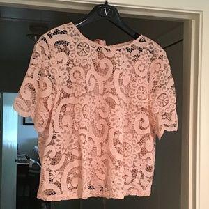 Nanette Lepore 2-Piece Pink Floral Lace Top M